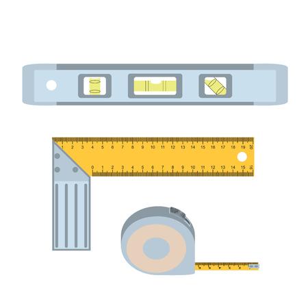 spirit level: House repairs tools. Setsquare, spirit level, tape measure. Tools for repair setsquare, spirit level, tape measure . Colorful images of repair tools setsquare, spirit level, tape measure. EPS 10 Stock Photo