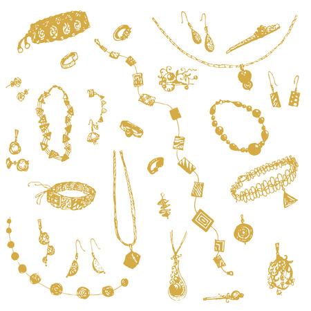 bijou: Hand drawn doodle jewelry, bijou. Yellow, gold objects, white background. Illustration