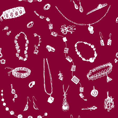 Hand drawn doodle jewelry, bijou seamless pattern. White objects, red, ruby background.