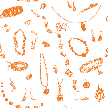 jewelry background: Hand drawn doodle jewelry, bijou seamless pattern. Orange objects, white background.