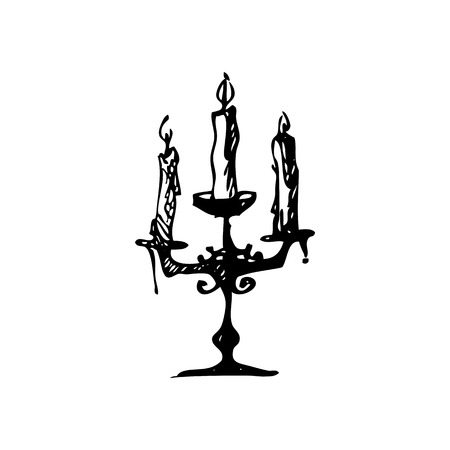 Hand drawn doodle candelabrum with three candles. Black illustration, white background Illustration