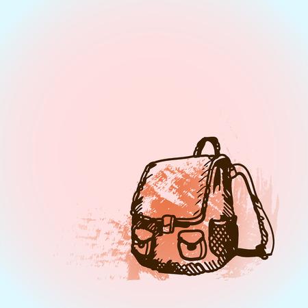 Hand drawn doodle schoolbag. Brown pen outline, pink watercolor grunge background. Pupil, student, school, education Vector Illustration