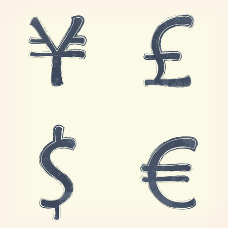remuneration: Gray money pound, euro, yen, dollar sign icon, symbol , pale yellow background. Painted design element. Watercolor illustration for web or typography magazine, brochure, flyer, poster