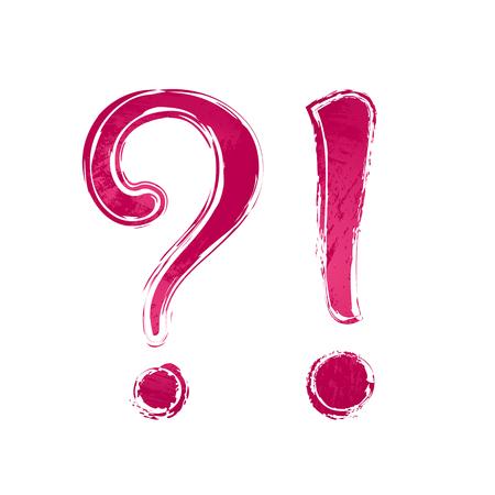 Ícone de sinal de interrogação de aguarela vermelha profunda, símbolo e ponto de exclamação, fundo branco. Elemento de design pintado Ilustración de vector