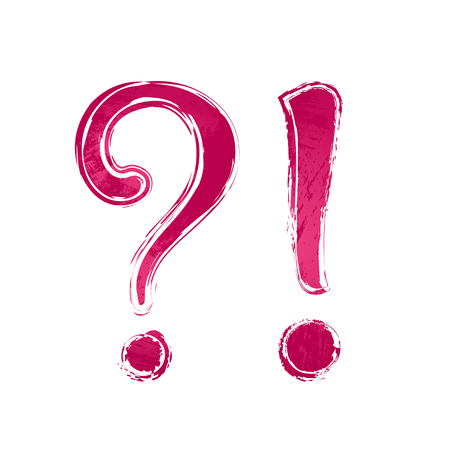 Deep red watercolor question mark sign icon, symbol and exclamation point, white background. Painted design element