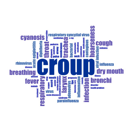 cough medicine: Croup word cloud collage illustration. Medicine, treatmen, cough