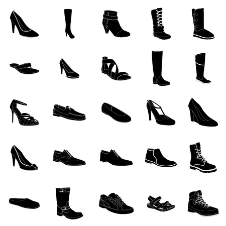 Woman's and man's footwear, black silhouettes, white details. Names: ankle boot, biker boot, business shoe, heel-strap sandals, moccasin, outdoor boots, rubber boots, sandals, snow boots, trainers