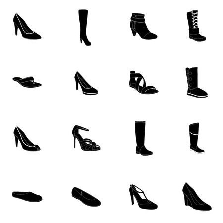 ankle: Footwear. Womans footwear set, footwear silhouettes, white details. Names: ankle boot, ballerina, flip-flop, heel-strap sandals, footwear, plateau pumps, sandals, snow boots, thigh-boots, T-strap