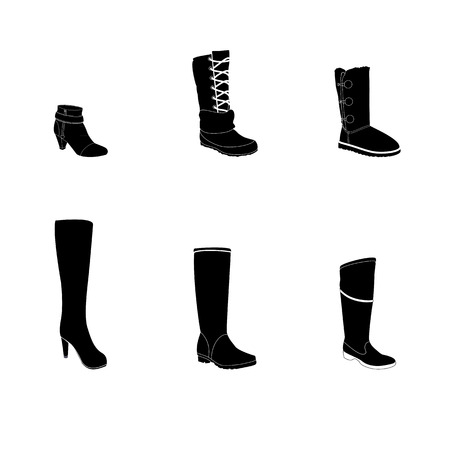 ankle: Womans boots, footwear silhouettes, white details. Names: ankle boot, high-heel boot, rubber boots, snow boots, thigh-boots, realistic footwear