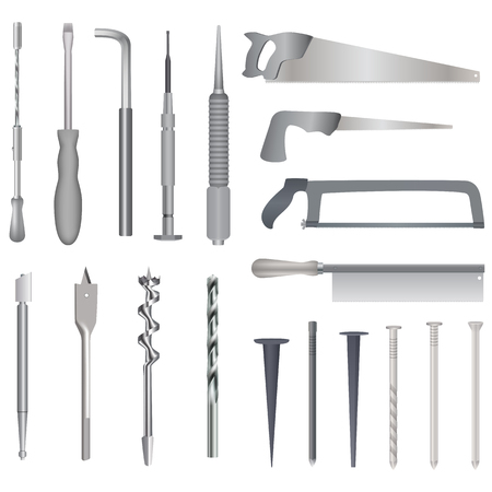 glasscutter: Set of repair tools, realistic illustration for web or typography magazine, brochure, flyer, poster , 10. White background.