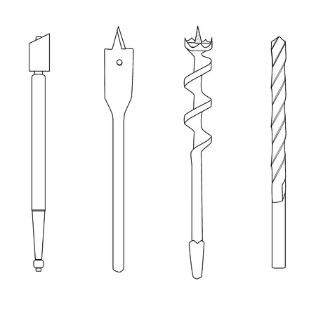 auger: Set of four repair tools double-twist auger bit, glass-cutter, solid centre auger bit, spade bit, twist bit , outline illustration for web or typography magazine, brochure, flyer, poster , EPS 10 Illustration