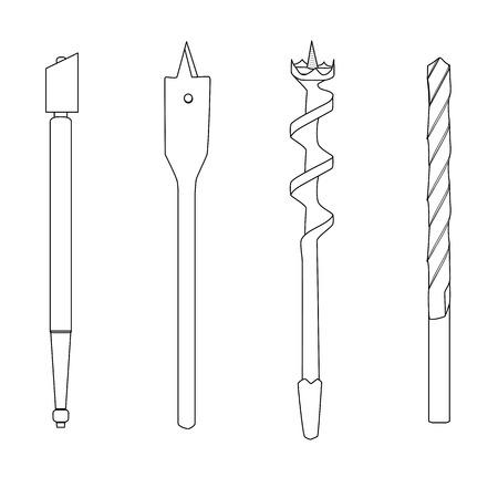 glasscutter: Set of four repair tools double-twist auger bit, glass-cutter, solid centre auger bit, spade bit, twist bit , outline illustration for web or typography magazine, brochure, flyer, poster , EPS 10 Illustration