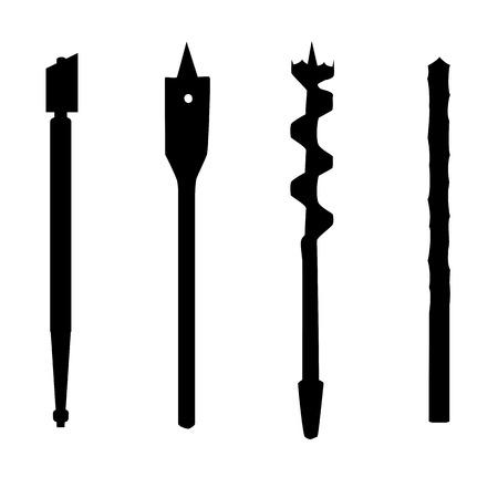 glasscutter: Set of four repair tools double-twist auger bit, glass-cutter, solid centre auger bit, spade bit, twist bit , silhouettes. illustration for web or typography magazine, brochure, flyer, poster