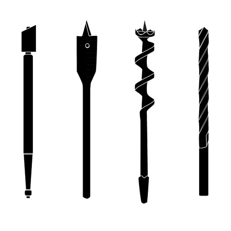 auger: Set of four repair tools, double-twist auger bit, glass-cutter, solid centre auger bit, spade bit, twist bit, silhouettes with white details. Illustration for web or typography