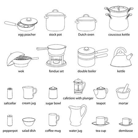 Gli Utensili Da Cucina Illustrazioni Insieme. Cucina, Servizio ...