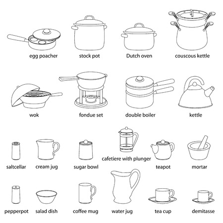 kitchen utensils names. #69350721 - Kitchen Utensils Illustrations Set. Cooking, Dinner Service, With Names. White Flat Outlined Images Of Kitchenware Names E