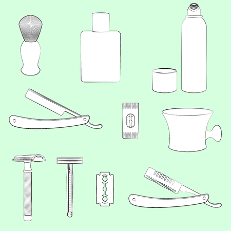 cutthroat: Set of shaving equipment illustrations. Light green background, white objects, black outline. Isolated images for your design. Vector.