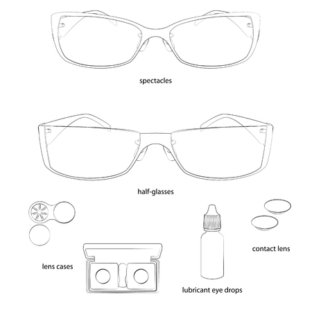 Set of glasses and lens illustrations. White background, white objects, black outline, names. Isolated images for your design. Vector.