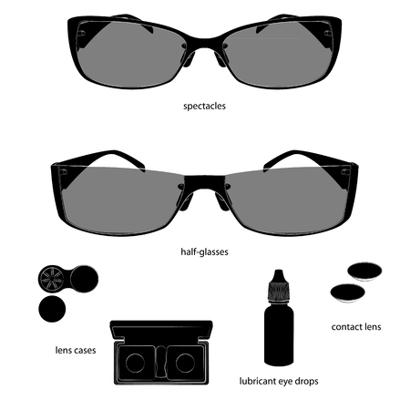 Set of glasses and lens illustrations. White background, black objects, white outline, names. Isolated images for your design. Vector.