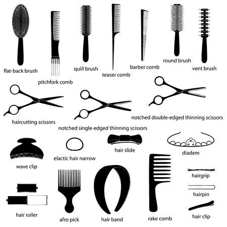vent: Set of hairdresser equipment illustrations. White background, black objects, white outline, names. Isolated images for your design. Vector. Illustration
