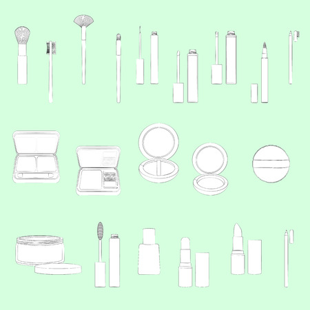 Set of make-up equipment illustrations. Light green background, white objects, black outline. Isolated images for your design. Vector. Illustration