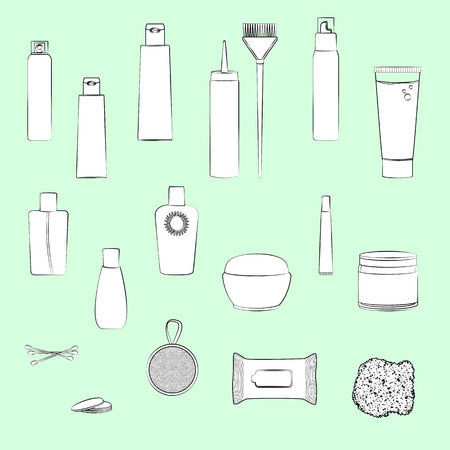 suntan cream: Set of beauty care cosmetics illustrations. Light green background, white objects, black outline. Isolated images for your design. Vector. Illustration