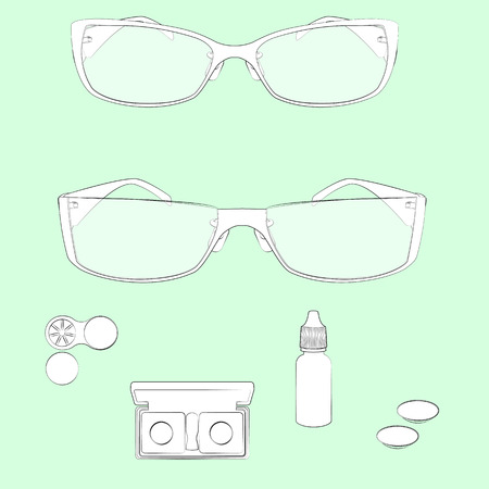 Set of glasses and lens illustrations. Light green background, white objects, black outline. Isolated images for your design. Vector. Illustration