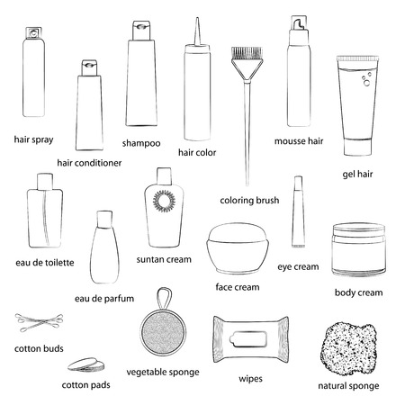 eau de perfume: Set of beauty care cosmetics illustrations. White background, white objects, black outline, names. Isolated images for your design. Vector.