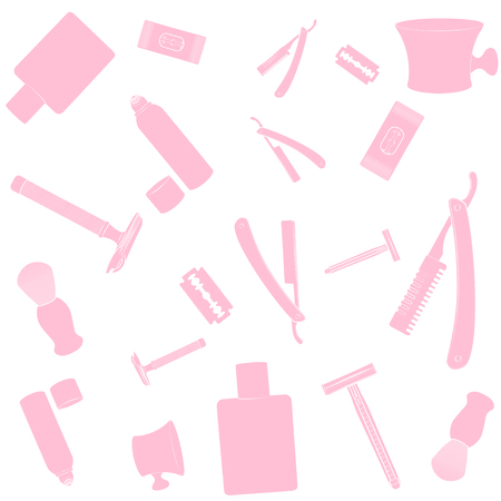 shaver: Shaving equipment pattern. Pink images, white background