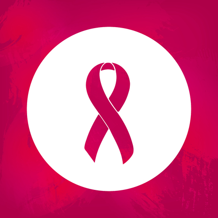 cystic: Awareness ribbon. Burgundy. Isolated icon. Watercolor painted background. Illustration