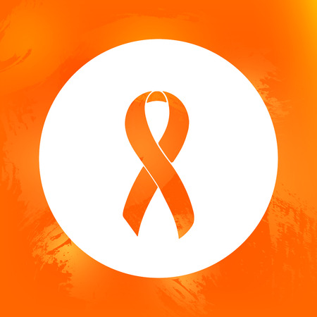 Orange Awareness Ribbon. ADHD, Attention Deficit Hyperactivity Disorder, COPD, Isolated icon. Watercolor painted background.