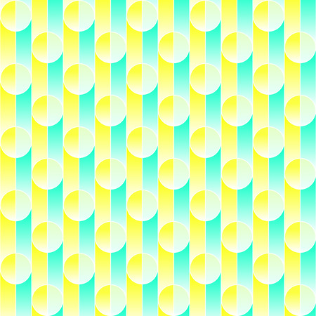 yeloow: Abstract seamless pattern, circles and stripes. Yeloow and turquoise vector illustration. Illustration