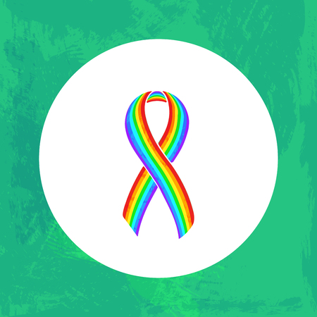 Awareness Rainbow ribbon. Adrenocortical carcinoma, Gay Pride. Isolated icon. Watercolor painted background. Illustration