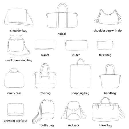 Set of woman bags with names. Black outline, white background. Vector illustration.