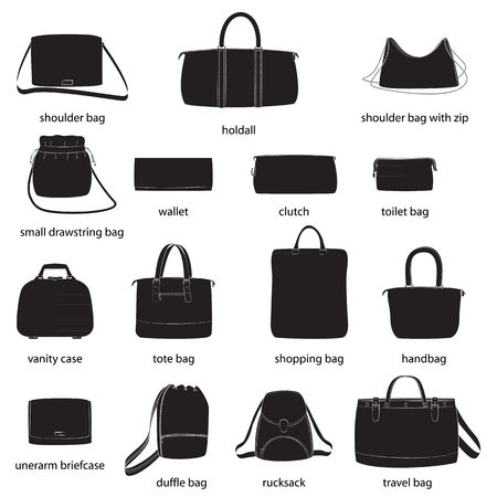 Set of woman bags with names. Black silhouettes, white background. Vector illustration. Ilustração