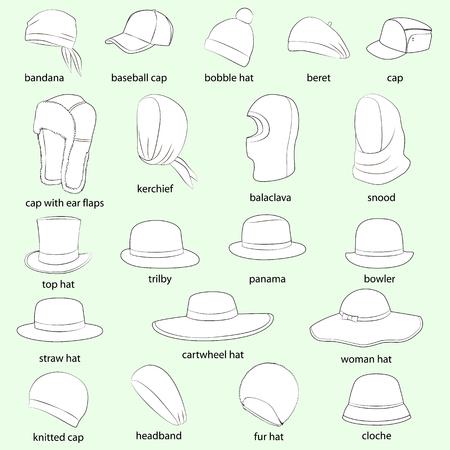 cartwheel: Set of hats, men, women. Pale green background, white images, black outlines. Illustration