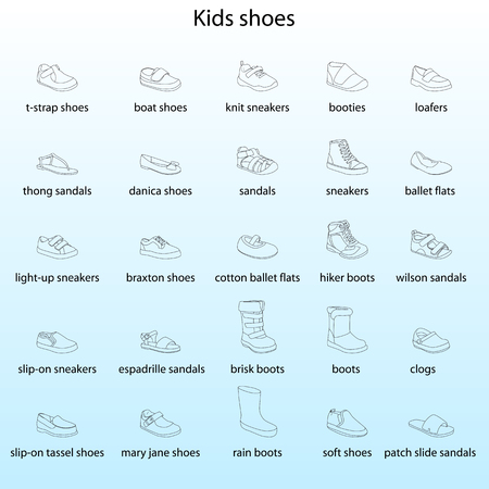 Kids shoes, set, collection of fashion footwear with names. Baby, girl, boy, child, childhood. Vector design isolated illustration. Black outlines, blue background.