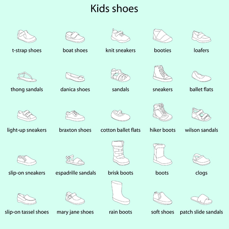 Kids shoes, set, collection of fashion footwear with names. Baby, girl, boy, child, childhood. Vector design isolated illustration. Black outlines, white images, blue background.