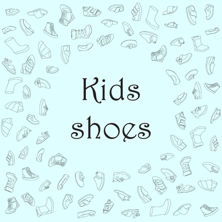 Kids shoes, set, collection of fashion footwear, poster with place for text. Baby, girl, boy, child, childhood. Vector design isolated illustration. Black outlines, blue background. Illustration