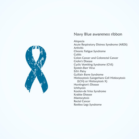 Awareness Ribbon Painted Navy Blue Isolated Icon List Of
