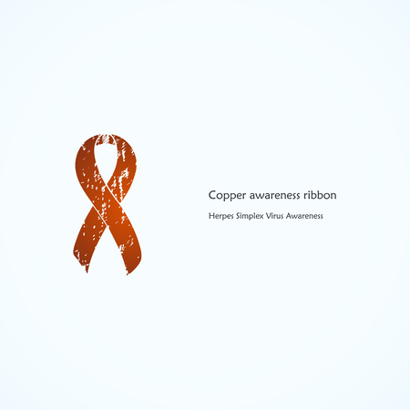 simplex: Copper Awareness Ribbon. Painted. Herpes Simplex Virus, HSV 1. Isolated icon. Illustration