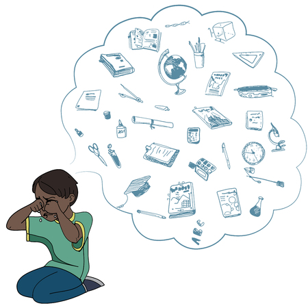 Dark skinned child, boy, teen, teenager crying. Study, studying, learning problems. School objects in a cloud. Vector outlined illustration. Colored image, white background.