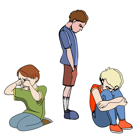Sad children, kids. Boys. Vector outlined illustration. Colored image, white background.