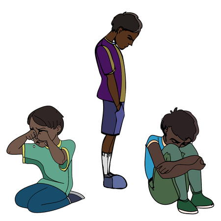 Sad dark skinned children, kids. Boys. Vector outlined illustration. Colored image, white background.