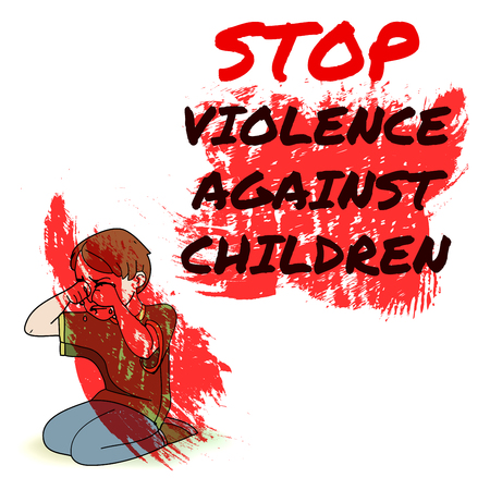 Infographics advertising banner poster menu template. Stop violence against children. Red paint design illustration. Sitting boy crying. Colored image, white background.
