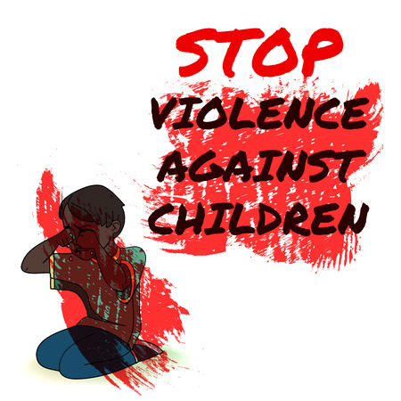 Infographics advertising banner poster menu template. Stop violence against children. Red paint design illustration. Sitting dark skinned boy crying. Colored image, white background. Illustration