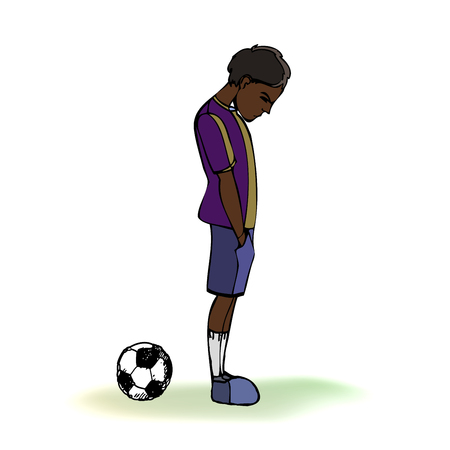 Dark skinned child, boy, teen, teenager standing frustrated, football, soccer ball. Vector outlined illustration. Colored image, white background.