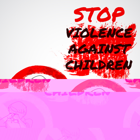 Infographics advertising banner poster menu template. Stop violence against children. Red paint design illustration. Sitting boy crying, stop sign, simbol. White image, gray background Stock Illustratie