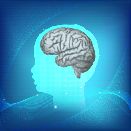 Child head with brain. Vector mecdical illustration. Blue science background.