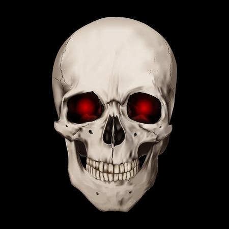 Menschlicher realistischer Schädel mit brennenden Augen. Schwarzer Hintergrund. Anatomie-Vektorillustration. Vektorgrafik